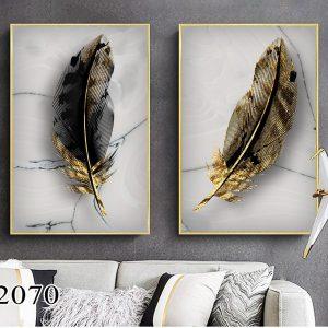 זוג תמונת קנבס נוצות השפע לסלון לעיצוב הבית