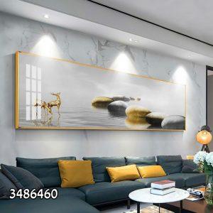 תמונת קנבס האיילים ואבני היוקרה לסלון לעיצוב הבית