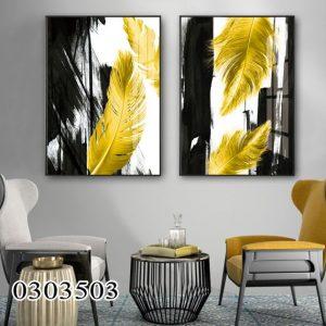 תמונת קנבס נוצות שחור צהוב לסלון לעיצוב הבית