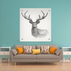 תמונת זכוכית אייל גאומטרי לעיצוב הבית על קיר בסלון