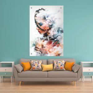 אישה עם ענן תמונת זכוכית