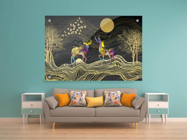 האיילים הצבעוניים תמונת זכוכית