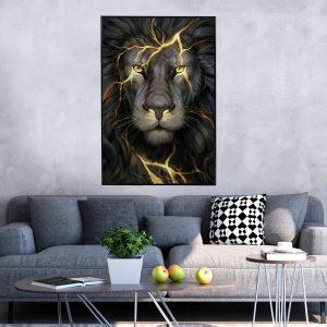 תמונת קנבס האריה הזוהר לסלון לעיצוב הבית