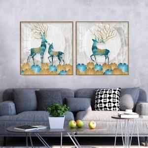 תמונת קנבס משפחת האיילים לסלון לעיצוב הבית