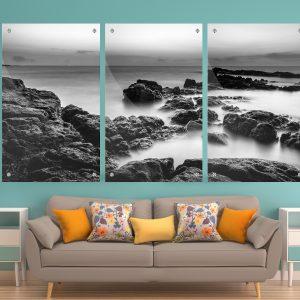 סלעי הים שחור לבן תמונת זכוכית