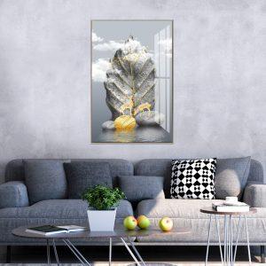 תמונת קנבס עלה מאבן לסלון לעיצוב הבית