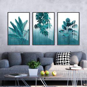 תמונת קנבס עלים ירוקים לסלון לעיצוב הבית