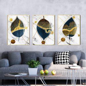 תמונת קנבס עלי כותרת מופשטים לסלון לעיצוב הבית