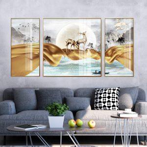 תמונת קנבס קריאת האיילים לסלון לעיצוב הבית