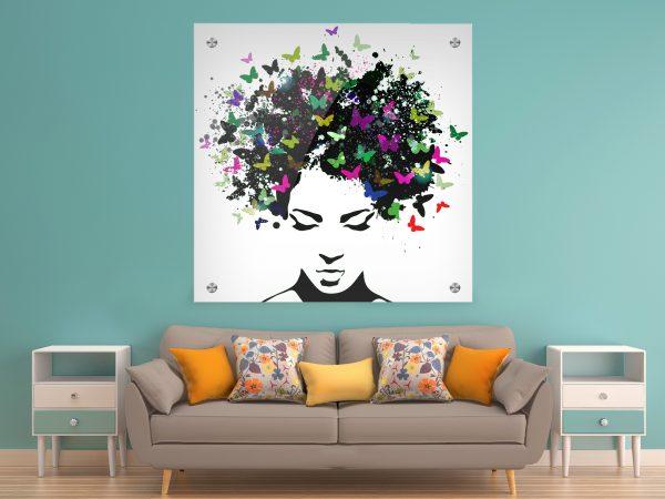 תמונת זכוכית שיער פרפרים לעיצוב הבית על קיר בסלון