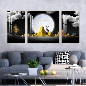 תמונת קנבס תצפית לירח מלא לסלון לעיצוב הבית