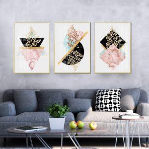 תמונת קנבס עלים ושיש גאומטריים לסלון לעיצוב הבית