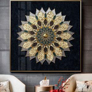 תמונת קנבס פרח מנדלה לסלון לעיצוב הבית