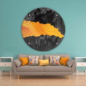 תמונת זכוכית אבסטרקט נתיפים שחור כתום לעיצוב הבית על קיר בסלון