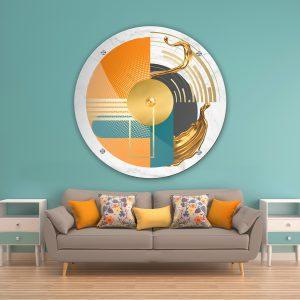 תמונת זכוכית אבסטרקט צורות מודרני לעיצוב הבית על קיר בסלון