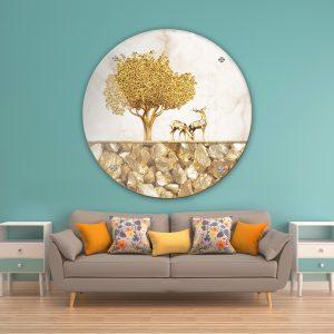 תמונת זכוכית איילים עץ וחצץ לעיצוב הבית על קיר בסלון