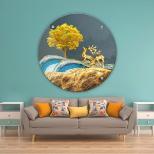 תמונת זכוכית איילי השפע לעיצוב הבית על קיר בסלון