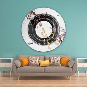 תמונת זכוכית דגים סינים לעיצוב הבית על קיר בסלון