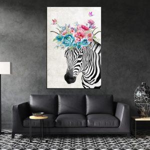 תמונת קנבס זר זברה לסלון לעיצוב הבית