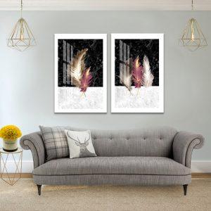 תמונת קנבס נוצות הנחושת לסלון לעיצוב הבית