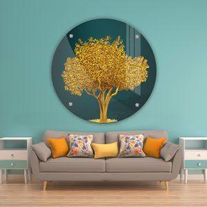 תמונת זכוכית עץ השפע לעיצוב הבית על קיר בסלון