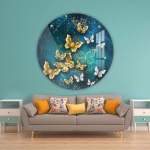 תמונת זכוכית פרפרי ספייס לעיצוב הבית על קיר בסלון