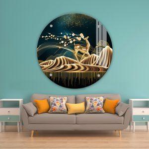 תמונת זכוכית קרן האייל הפרחוני לעיצוב הבית על קיר בסלון