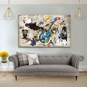 תמונת קנבס רוקנרול רטרו לסלון לעיצוב הבית