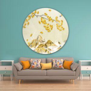 תמונת זכוכית שלכת סינית לעיצוב הבית על קיר בסלון