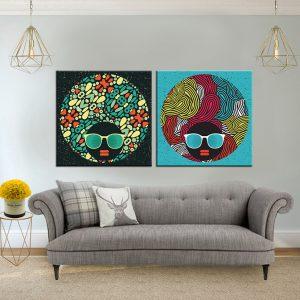 תמונת קנבס אפרו טקסטורה לסלון לעיצוב הבית