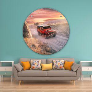 תמונת זכוכית ג'יפ שטח אדום לסלון לעיצוב הבית