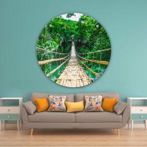 תמונת זכוכית גשר הבמבוק ביער לסלון לעיצוב הבית