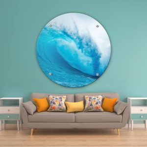 תמונת זכוכית הגל הכחול לסלון לעיצוב הבית