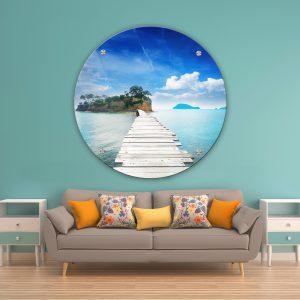 תמונת זכוכית השביל הלבן לאי לסלון לעיצוב הבית