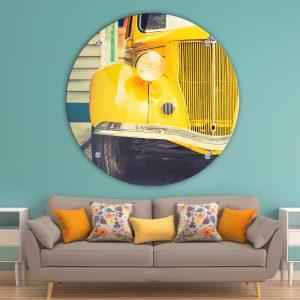 תמונת זכוכית וינטג' צהובה לסלון לעיצוב הבית