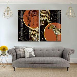זוג תמונות קנבס זברות יוקרתיות לסלון לעיצוב הבית, לחדרי שינה או למטבח