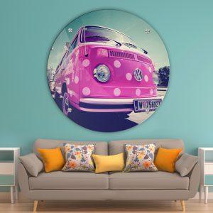 תמונת זכוכית טרנספורטר ורוד לסלון לעיצוב הבית