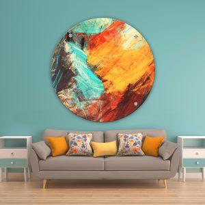 תמונת זכוכית לבה צהוב כתום טורקיז לסלון לעיצוב הבית