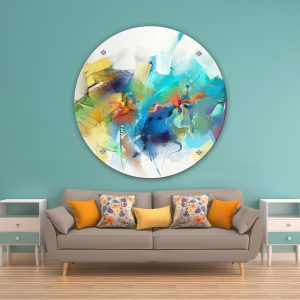 תמונת זכוכית משיכות צבעוניות לסלון לעיצוב הבית