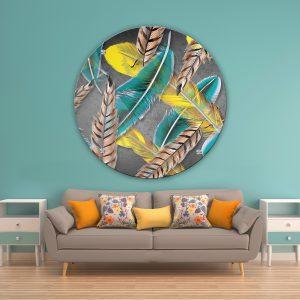 תמונת זכוכית נוצות באוויר לסלון לעיצוב הבית