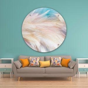 תמונת זכוכית נוצות פנינה לסלון לעיצוב הבית
