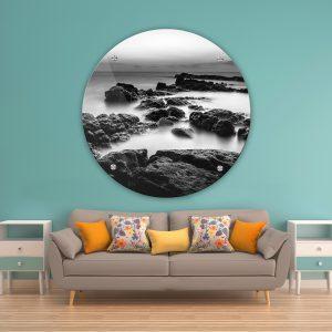תמונת זכוכית סלעי הים לסלון לעיצוב הבית