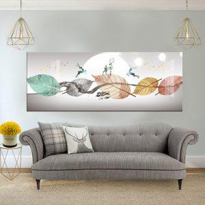 תמונת קנבס עלים ואיילים אבסטרקט רויאלי לסלון לעיצוב הבית