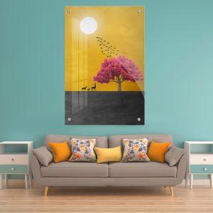 תמונת זכוכית עץ השקיעה לסלון לעיצוב הבית