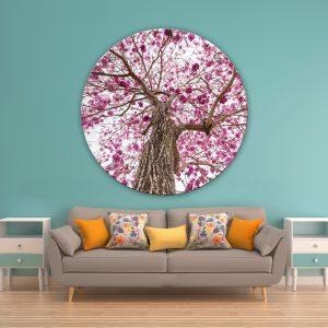 תמונת זכוכית עץ עלי הסגול לסלון לעיצוב הבית