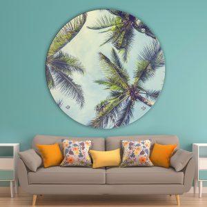תמונת זכוכית עצי הדקל לסלון לעיצוב הבית