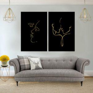 תמונת קנבס קו אהבה לסלון לעיצוב הבית