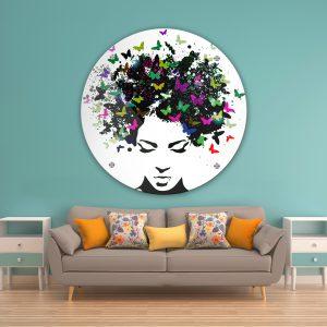 תמונת זכוכית שיער פרפרים לסלון לעיצוב הבית