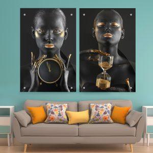 תמונת זכוכית שעון הזמן לעיצוב הבית על קיר בסלון