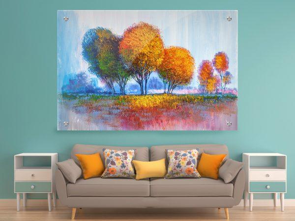 תמונת זכוכית יער הצבעים לעיצוב הבית על קיר בסלון